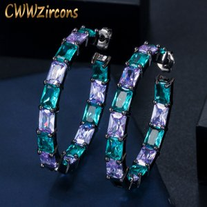 CWWZircons Luxury Designer Brazilian Black Gold Bamboo Big Circle Round Blue CZ Crystal Hoop Earrings Jewelry for Women CZ620