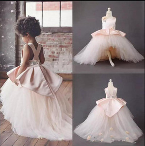 New Design High Low Flower Girl Dress with Handmade Flowers Satin and Tulle Girls Pageant Gowns Cross Straps Back Custom Made