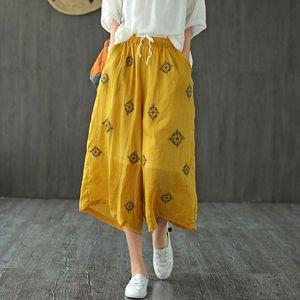 Johnature Women Cotton Linen Retro Embroidery Elastic Waist Wide Leg Pants 2020 Summer New Loose Leisure All-match 5 Color Pants