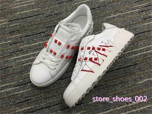Valentino casual shoes xshfbcl Neue Ankunft Freizeitschuhe Weiß Schwarz Rot Mode-Männer Frauen Leder-Designer-Schuhe öffnen Low Sport-Turnschuhe Größe 36-45