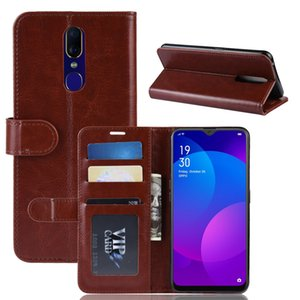 Cas de téléphone pour OPPO F11 pro A7 AX7 crazy horse portefeuille en cuir titulaire titulaire de la carte téléphone cas pour OPPO