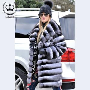 2019 Nouveau vrai chinchilla Rex Manteau de fourrure avec grand cagoule Longueur manteau de fourrure Femmes Long doudounes Plus Size RB-058
