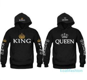 King and Queen Couple Hoodies Long Sleeve Letters and Crown Pullover Raglan Sleeve Lovers Printed Hoodie Tracksuits Hooded Sweatshirts XM08