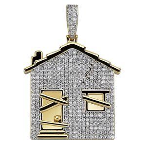 Hip Hop Iced Out CZ Бандо Trap House Ожерелье Подвеска для мужчин Street Рэпер ювелирных изделий Bijoux