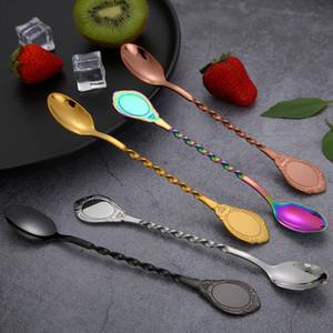 304 Stainless Steel Bar cucchiaio di metallo di colore a spirale Cucchiaio di bevande Caffè Succo di frutta Latte scoop multi colore 5RY E1