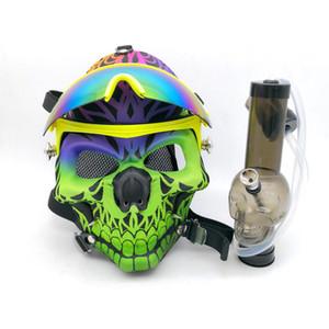 Masque à gaz Bong Silicone Pipe à eau Tête de masque à tête de mort avec lunettes de soleil Plateaux à huile Brûleur à mazout Multifonctions Fumer Dab Rig Mask