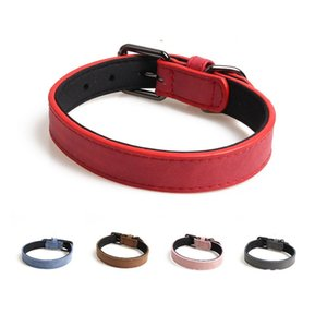 PU Leather Durable Pets Dog Collars Adjustable Solid Color Breakaway Safety Small Medium Dogs Cats Necklace Puppy Cat Collar