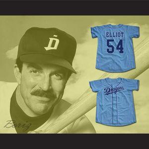 Personnalisé Jack Elliot # 54 M. Baseball Film Jersey Chunichi Dragons Blanc Bleu N'importe quel nom et taille Taille S-4XL