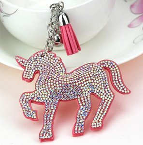 DHLFREE 50PCS mixed 6colors Bling Unicorn Horn Leather Tassel Keychain Fashion Key Chain Keyrings for Women Car Bag Pendant Jewellery
