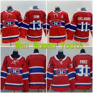 Hombres Lady Kids Montreal Canadiens 13 Jóvenes Carey Precio Jerseys Man Mujeres 13 Max Domi 11 Brendan Gallagher Hockey sobre hielo Jerseys en blanco Rojo