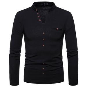 2018 nuovo stile di modo uomini di inverno di autunno caldo Slim Fit scollo a V T-shirt manica lunga Button Winter Warm Top