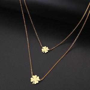 Acero Oro DOTIFI para las mujeres afortunado doble del trébol Cruz collar del acero y plata GiftT123-T128