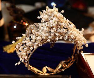 Sconto di lusso Pearls corone nuziali diademi fascia di nozze gioiellerie festa di compleanno della principessa Crown capelli Decori gioielli gioielli spose