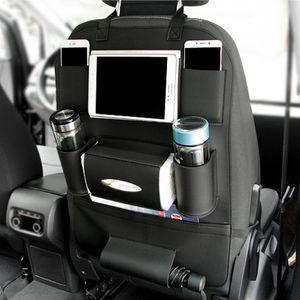 PU-Leder-Autositz-Rückentasche Universal Storage Organizer Verstauen Aufräumen Taschen und Kids Anti-Kick Protector Cover