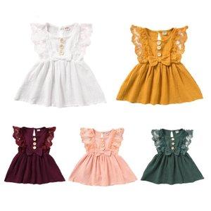 Roupa Princess Dress miúdo da menina Lace Floral Vestido Bow Botão Sólidos Cotton Verão Vestidos para crianças