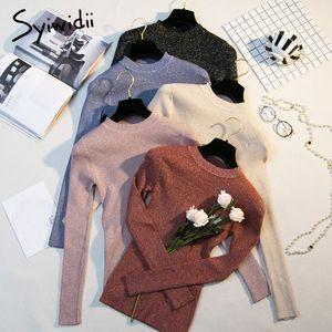 suéteres de las mujeres ropa de invierno syiwidii superior coreano de moda suéter con capucha 2020 se extienden otoño de punto O-Cuello de las niñas sólidos tejer
