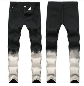 Tamanho grande 2019 Primavera dos homens de Graduação Preto Jeans Branco Designer de Moda Rasgado Slim Fit casual Calças Perna Denim Calças Trousres QKN1866