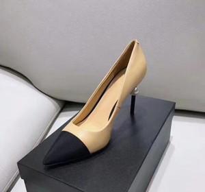 Damenschuhe Ziegenleder Grosgrain Pumps Leder Perle High Heels OL Abendschuhe Lady Beige Weiß Schwarz Einzelne Schuhe Original Box und Logo