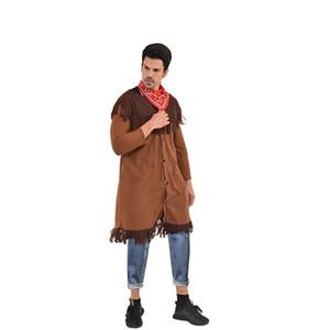 El tema de disfraces de Halloween y Fanny del partido del vestido de Cosplay ropa con la bufanda diseñador Chaqueta indios para hombre del vaquero
