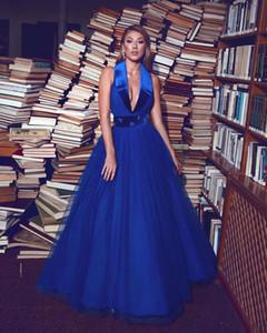 Lo nuevo túnicas Longitud azul real vestido de gala Prom Dresse cabestro sin mangas de tul Banda noche del partido de espalda abierta del piso del vestido de soirée