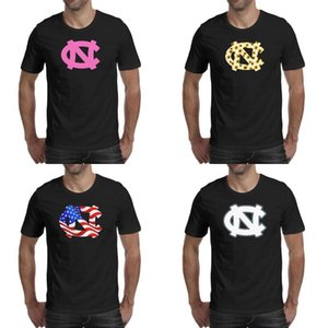 Hommes impression North Carolina Tar Heels de basket-ball blanc logo noir t shirt Design Hip hop Band Chemises Urban USA drapeau tournesol vieux rose