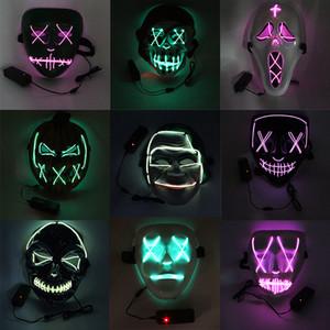 Halloween LED Light Up Mask funny face Pumpkin Cold light mask 9 new styles offer choose