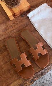 xshfbcl Top H Slippers Marca Mode Frauen 2020 New lussuoso Progettista Leder-Rindleder flachen Flip-Flop-Sandalen-Strand-Schuhe mit Staubbeutel