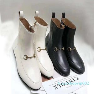 Classic autumn winter luxury Designer zipper Dress boots 100% leather Flat bottom Martin boots High quality cowhide Metal Buckle GCB 001