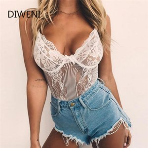 DIWEINI Off Shoulder Bow Cutout Bodysuit Fashion Lace Bodysuit Women Nightclub Club Perspective Sexy Tights Camisole Jumpsuits