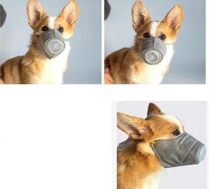 3PCS / SET 애완 동물 마스크 개 총구 연기 마스크 입 방진 안티 PM2.5 조정 통기성 회색 개 훈련 총구 애완 동물 SN1366을 한 입 마스크