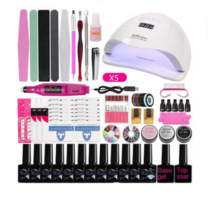 Manicure Set para Kit prego com lâmpada de 24W / 36W LED de Nails Broca elétrica unhas de gel Kit Polish Nails Art Set Ferramentas Unhas