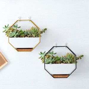 세라믹 식물 냄비 즙이 많은 꽃 화분 소형 벽걸이 분재 장식 금속 바탕 공장 바구니 두 가지 색상
