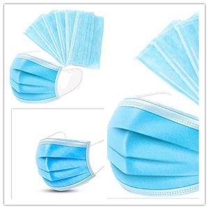 non-woven Face Disposable Dustproof Masks Mask 3 Layers Facial Protective Cover Masks Anti-Dust Mouth Mask With Retail Box 50PCS Box