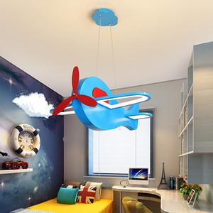 만화 창조적 인 복고풍 항공기 샹들리에 소년 침실 어린이 방 램프 미국 컬러 LED 전투기 샹들리에 90-260V