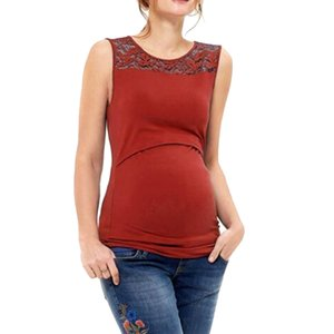 New Fashion 2019 Summer For Women's Sleeveless Casual Pregnancy Solid Color Tank Tops Lace Maternity Nursing Baby Vest