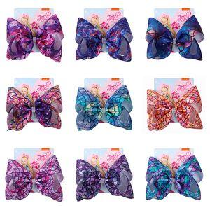 104 Renkler Flamingo yonca Bebek Kız Bow Saç klipler Denizkızı Clip ile Saç Aksesuarları Tokalarım Çocuklar 8 inç Headdress saç yay yazdırmak