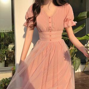 Повседневные платья 2021 летнее сетчатое платье женское V-образным вырезом короткий слойный рукав A-Line женщины тонкий корейский стиль элегантные винтажные Vestidos