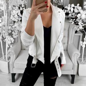Automne Vestes Manteaux col à revers Mujer Jaqueta Feminina 2019 Motard Faux Veste en cuir femmes Zipper vêtement ceinture