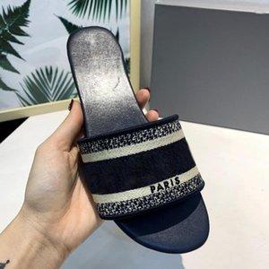 París desgastes para mujer del deslizador de las sandalias del verano de los deslizadores de la playa de diapositivas niñas Chancletas holgazanes de la vendimia bordado floral Zapatillas