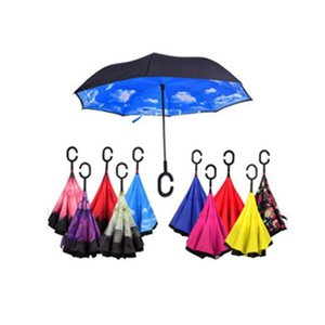 Inverted Umbrella Double Layer Reverse Rainy Sunny Umbrella with C Handle Self Standing Inside Out Special Design Free DHL