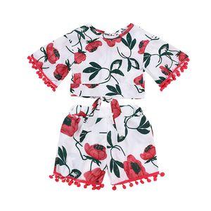 Traje de niña de verano flor blanca camisa de manga de cuerno Borla bola + balón pantalones de pierna ancha 2pcs Conjunto de ropa para niñas