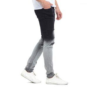 Hommes stylisés Noir Couleur Blanc Patchwork Washed Jeans Pantalons Crayon Gradatient Jeans Couleur