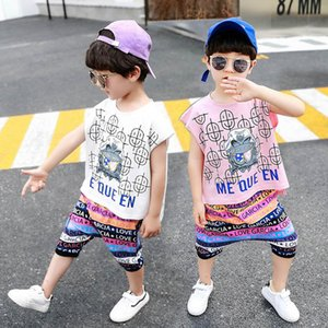 Cartoon casual boys suits 2020 summer kids suits T shirt+harem pants 2pcs set kids designer clothes boys clothing sets boys clothes B1093