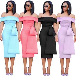 섹시 슬래시 목 등이없는 분할 여성 디자이너 드레스 여성 의류 캐주얼 드레스 패션 패널로 슬림 여자