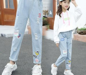 Girls' pants new autumn 2019 children's middle, big and children's Korean fashion printed letter foreign style little girl's jeans