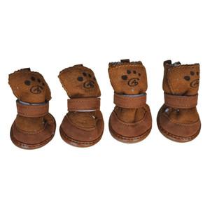 AFBC Brown Hook Loop Closure Booties Pet Dog Chihuahua Shoes Boots 2 Pair S