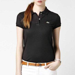 Logo Katı Renk Polo tişörtler ile Yaz Kadın tişörtler Yaka Kısa Kollu Tişört 16 Renk Kadınlar Tasarımcı Giyim Ropa De Mujer