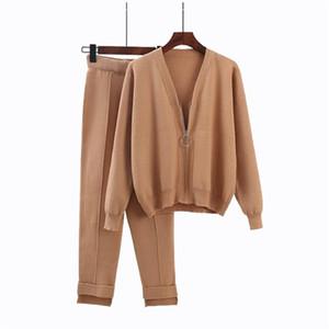 Womens outono Chegada Nova 2 conjuntos de peças de malha Cardigan e Calças Feminino Ternos Moda Streetwear Sólidos