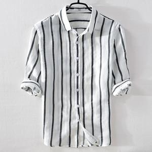 İtalya marka yaz keten erkekler gömlek casual moda beyaz çizgili gömlek erkekler keten turn-down yaka rahat gömlek erkek chemise T519053101