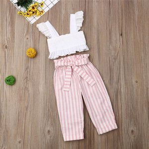 2020 Fashion Kids Summer clothing sets for Girl Lace Strap Ruffle Off Shoulder Tops Striped Long Pants 2Pcs Outfits